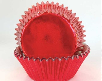 45 Red Foil Cupcake Liners, Christmas Baking Cups