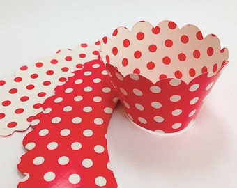 Red & White Polka Dot Cupcake Wrappers (7), Spotty Valentine Party Supplies