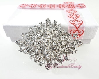 Wedding Brooch, Bridal Brooch, Diamond Shaped Rhinestone Brooch, Victorian Wedding jewelry, Crystal Brooch, Vintage brooch BR0027