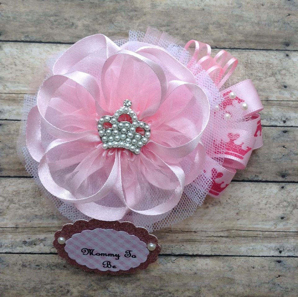princess baby shower corsage mommy to be by alittlesweetbowtique