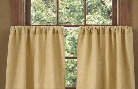 Cafe Curtain Rustic Curtain Burlap Cafe Curtain