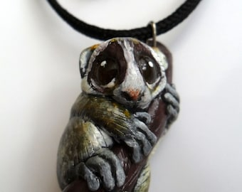 Slow Loris Necklace - Animal Pendant Necklace - Ploymer Clay Jewelry - Polymer Clay Necklace