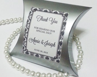 12 Silver Pillow Wedding Favor Boxes - Silver Wedding Celebration - Damask