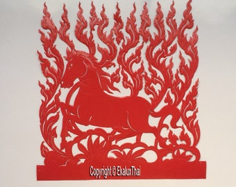 Red horse thai paper carving engraved  paper craft wall hanging ideas thai frameart style thai pattern