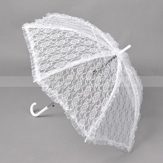 Lace Parasol Umbrella For Bride In Wedding White