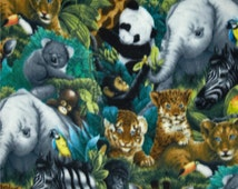 On Sale!!!!Jungle Animals All Over Fleece Fabric By The Yard