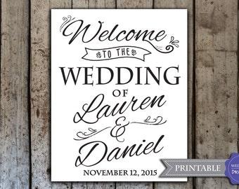 Custom wedding welcome sign, printable wedding welcome signs, wedding reception signs - Digital PDF