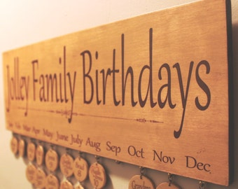 Family Birthday Board Calendar, Family Celebrations Board, Personalized Board - Gabriola - Mother's Day Gift Idea!