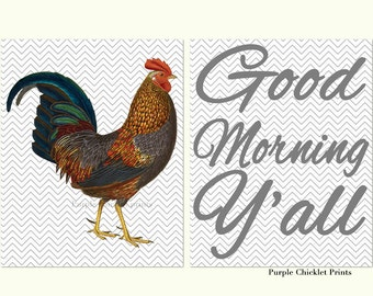 Rooster Wall Art Kitchen Decor Good Morning Y'all Chevron Wall Art Country Cock Chicken Domestic Bird Art Prints 242(a)
