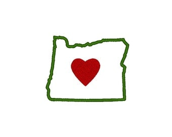 Oregon Embroidery Design,  applique' in multiple sizes, I Heart Oregon