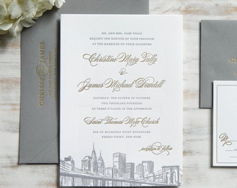 The Christine Suite | Metallic Gold Foil + Letterpress Wedding Invitation SAMPLE