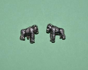 2 - Tibetan Silver Silverback Gorillas  beads (3026042)