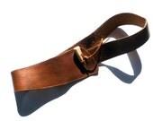 Vintage Brown Leather Belt with Bone Hook, Size Medium