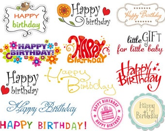 Instant Download Happy Birthday Digital Photo Overlays Happy Birthday Clip Art Happy Birthday Wording Clip Art Scrapbook birthday decor 0353