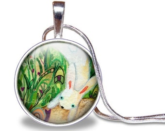 Bunny Necklace, Rabbit Necklace, Watercolor Necklace, Lauren Alexander Pendant, Round Pendant, Easter Gift, Green and White, Silver Plated