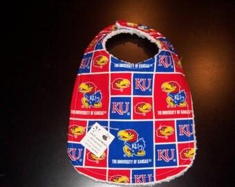 Kansas Jayhawks Baby Bib !!!  FREE SHIPPING !!!!!