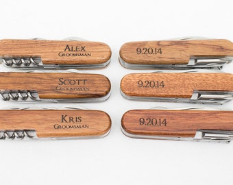 Ring Bearer Gift, 7 Engraved Pocket Knifes, Personalized Groomsmen Gift, Personalized Wedding Favor, Knife