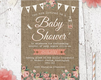 Hessian Burlap Baby Shower Invite with bunting and flowers