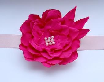 Hot Pink Flower Belt.Hot Pink Ribbon Sash.Hot Pink Dress Belt.Bridal Ribbon.Bridal Belt Sash.Floral Wedding Sash.