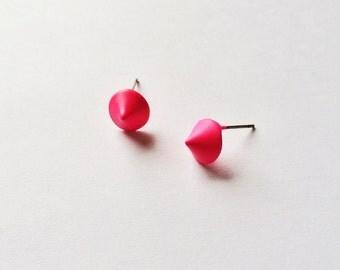 CLEARANCE - Matte Hot Pink Cone Earrings - Hot pink earrings - Pink cone - Post earrings - Stud earrings - Geometric earrings - Matte