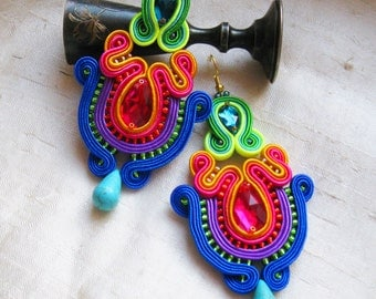 Colorful Earrings Dangle Earrings Soutache Jewelry