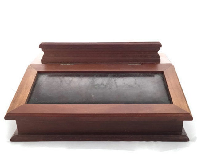 Montgomery Ward Jewelry Box ~ Men's Wood and Leather Jewelry Box ~ Vintage Unisex Jewelry Box - Vintage Home Decor
