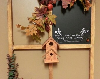 Home Decor, Window Frame,Wall hanging, Chalkboard, Country Primitive Decor, Fall Decor, Picture window, Rustic Decor