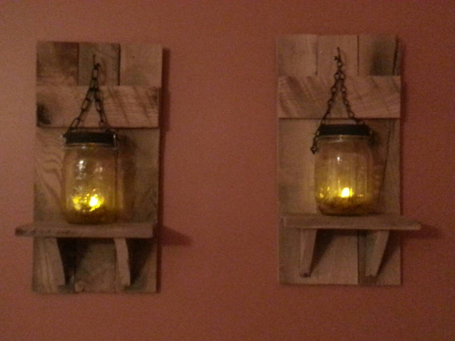 Country Wall Sconce Candle Holder : Candle Holdesr Rustic Mason jar candlesCountry Decor