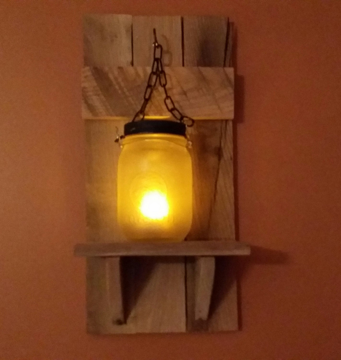 Country Wall Sconce Candle Holder : Rustic Candle Holder mason jar Country Decor sconce candle