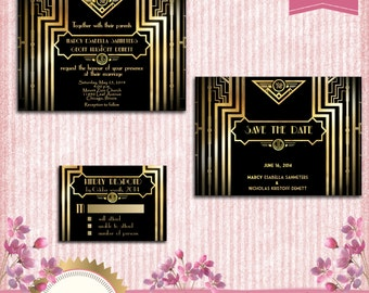 Great Gatsby Style Art Deco Wedding Invitation Suite with Save The Date and Responce Card -  Black and Gold - 1920's Style - Printable