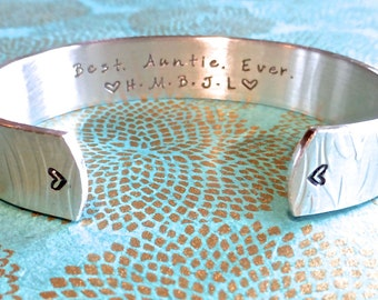 Aunt Gift | Auntie Gift | Tia Gift | Sister Gift | Sister-in-law Gift | Best. Auntie. Ever. Custom Hand Stamped Bracelet by MadeByMishka.com