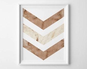Instant Download - Watercolor Chevron - 8x10 - 11x14 -  Printable Art - Geometric - Minimalist-  Wall Art - Home Decor