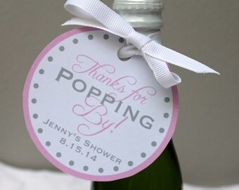 Baby Shower Gift Tags -Thanks For Popping By Favor Tags - Customizable PDF File