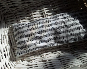 Soothing Eye Lavender/ Rice  Pillow in Sheet Music Print, gift for musician, music teacher, music student or music lover