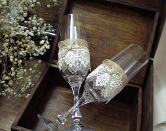 Wedding Toasting Glasses-rustic toasting glasses-burlap ang lace glasses