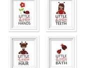 Kids Ladybug Bathroom Art, Bathroom Rules, Bathroom Prints