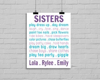 Sisters Prints - Sister Typography Print, Personalized Name Print, Playroom Wall Art, Girls Room Decor, Sisters Nursery, Sibling Decor