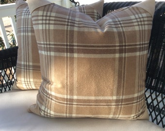 "Ralph Lauren Wool Pillow Cover in Rich Camel and Ivory ""Deerpath Trail- Plaid with Suede Corners,"
