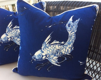 Ralph Lauren Pillow Cover in Cadet Navy Blue and White Koi Linen, Ivory Linen Backing