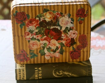 Antique Folk Art Matchstick Tin Box with Decoupage Roses