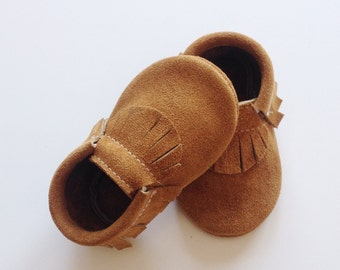 Toast Suede Baby Moccasins