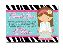 Spa Party Thank You Card Birthday - DIGITAL or PRINTED