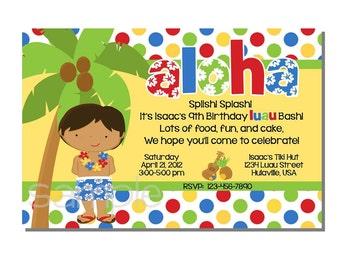 Luau Invitation Birthday Party - DIGITAL or PRINTED