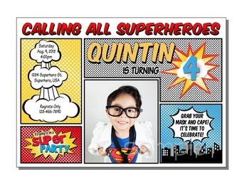 Superhero Invitation Comic Birthday Party - DIGITAL or PRINTED