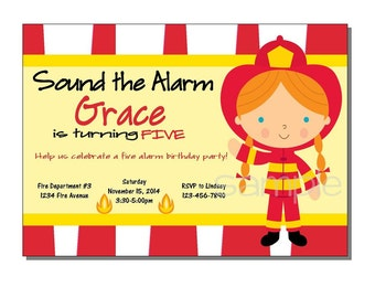 Fireman Invitation Birthday Party - DIGITAL or PRINTED