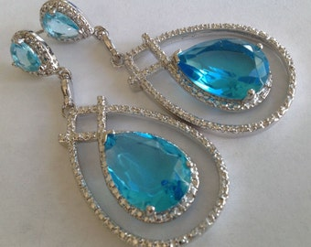 Huge Swiss Blue Topaz post earrings 925 silver