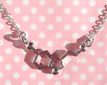 Silver Serotonin pendant necklace