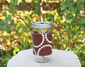 Mason Jar Tumbler 24 oz | Mason Jar To Go Cup | BPA Free Lid and Straw | Free Personalization | Brown Pearl Bracelets