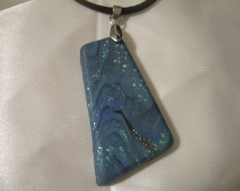 Asymmetric Faux Abalone Polymer Clay Pendant