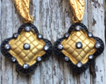 Quilted Gold Earrings